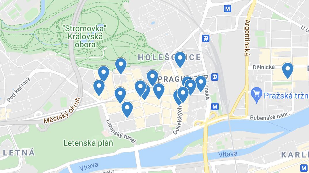 プラハのおすすめカフェの地図